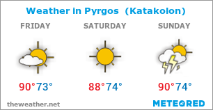 Image with Weather Forecast in Pyrgos  (Katakolon) for 3 days