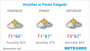 Image with Weather Forecast in Ponta Delgada (Portugal) for 3 days