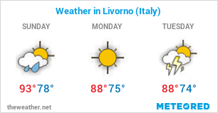 Image with the weather forecast in Livorno (Italy) for 3 days