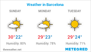 Image with Weather Forecast in Barcelona (Spain) for 3 days