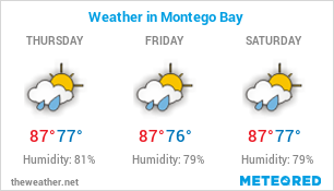 Image with current weather in Montego Bay (Jamaica) and forecast for 3 days